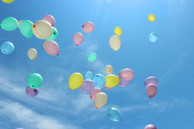 風船を飛ばす